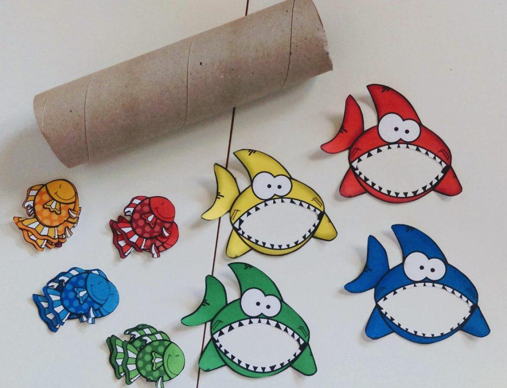 """Καλοκαιρινό παιχνίδι ταξινόμησης χρωμάτων: """"Καρχαρίες και Ψαράκια"""