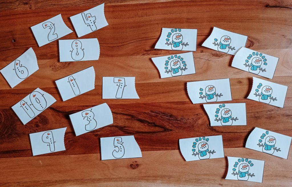 Δωρεάν εκτυπώσιμο παζλ με αριθμούς και χιονάνθρωπους
